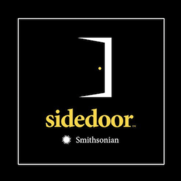 Sidedoor podcast cover art, featuring a door opening on a black background