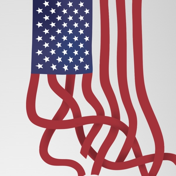 title imagery from A Dangerous Idea, featuring a stylized drawing of the American flag with the red stripes coming undone