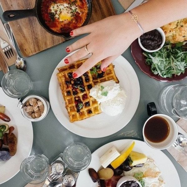 overhead shot of a table at brunch
