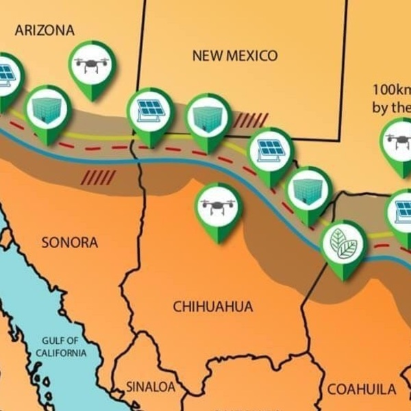an illustration of the proposed energy- and water-producing industrial corridor along the United States-Mexico border