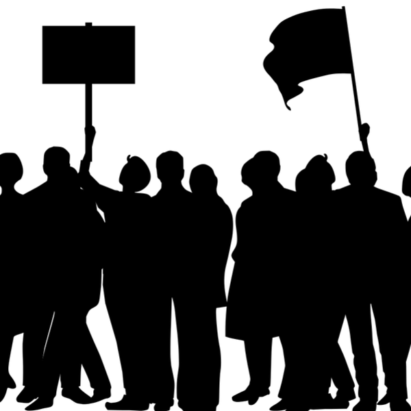 silhouette drawing of people protesting