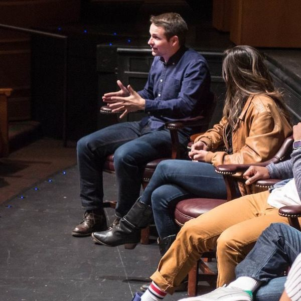 Patrick Vassel (left), Hamilton cast members Ari Afsar and Chris De'Sean Lee, and director Tommy Kail visit with Film, Television and Theatre majors